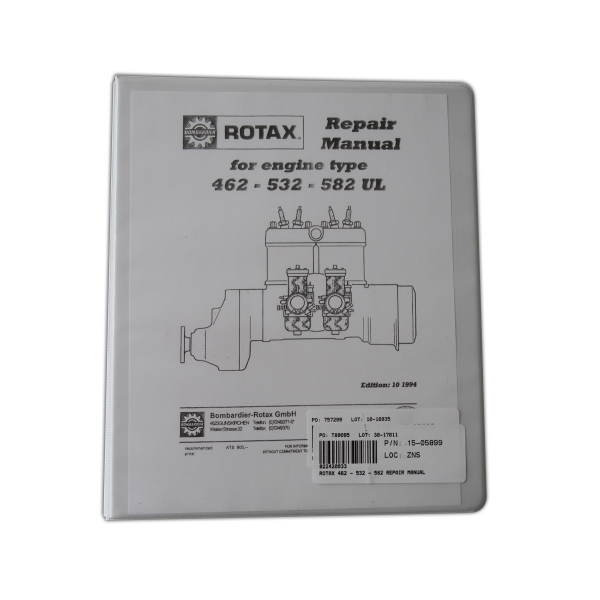 ROTAX 462 532 582 REPAIR MANUAL from Aircraft Spruce Europe – Rotax Engine Parts List Diagram